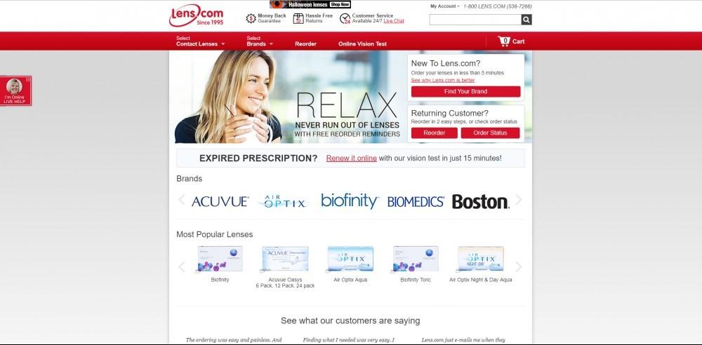 Lens.com Homepage