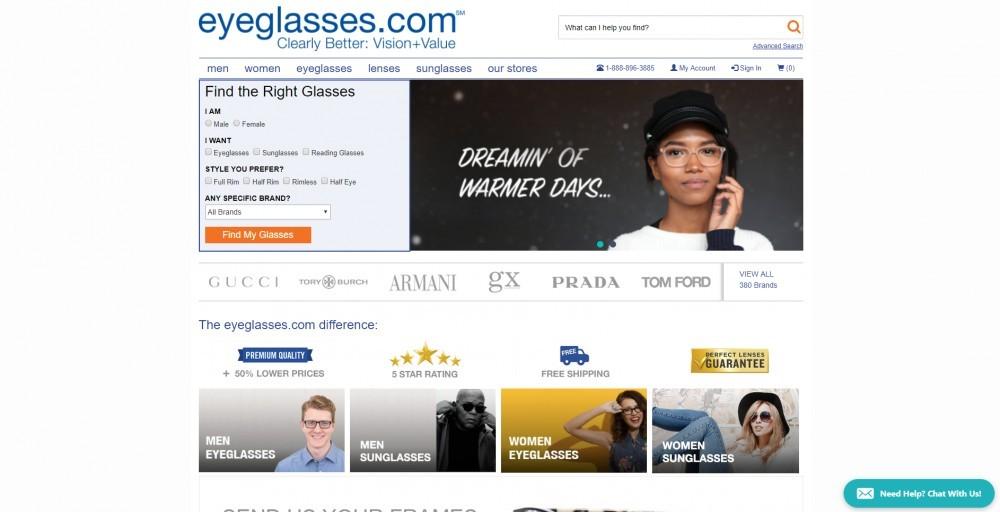 Eyeglasses.com homepage