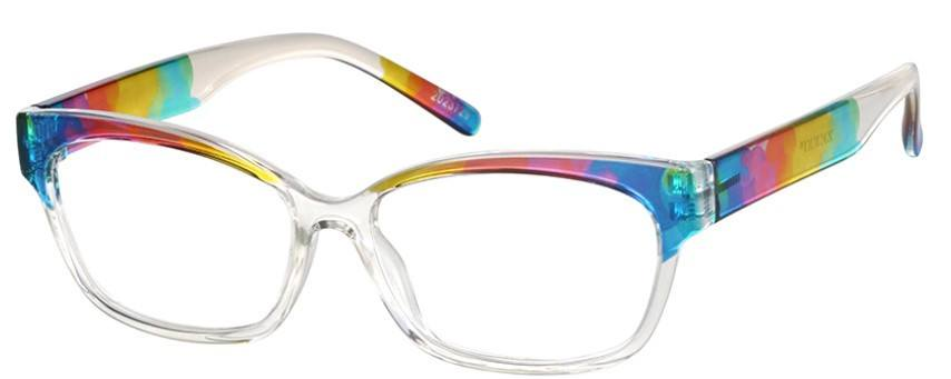 Rainbow colored glasses frame